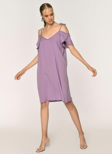 Loves You Kolu Fırfırlı Tensel Elbise Lila